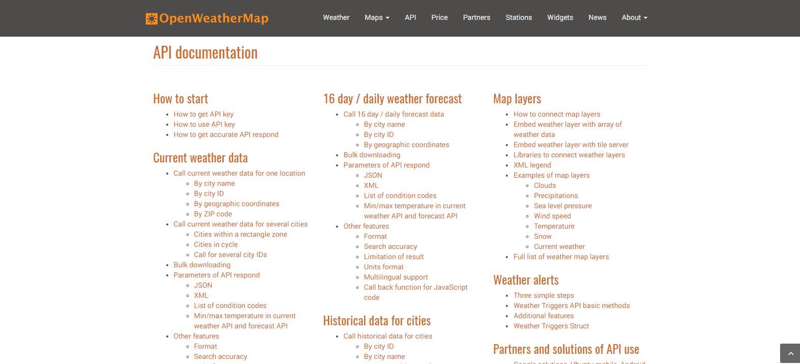 Documentación sobre la API de OpenWeatherMap