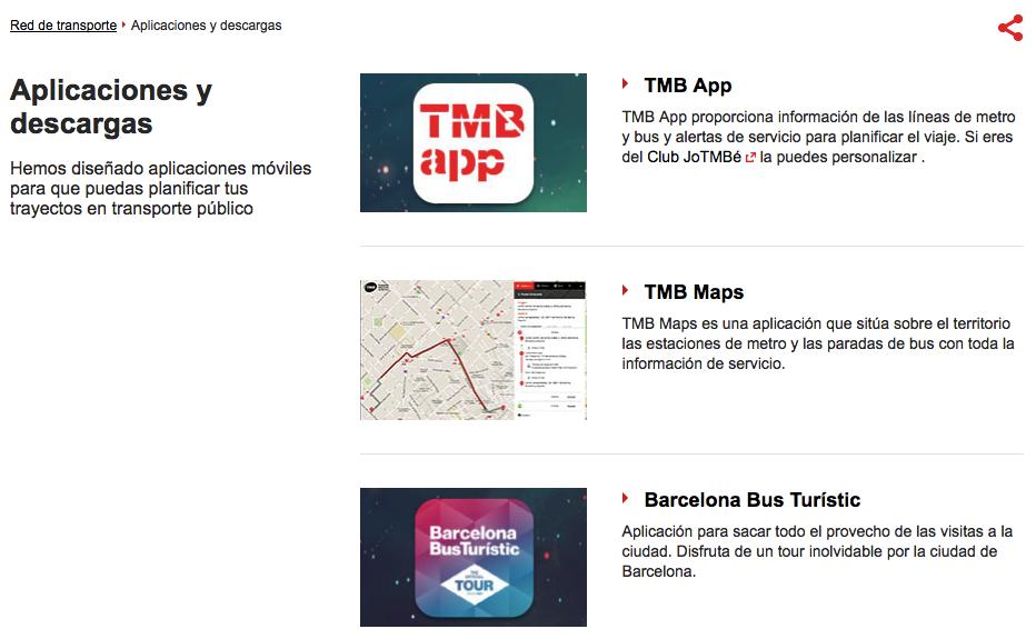 Apps TMB - Transports Metropolitans de Barcelona
