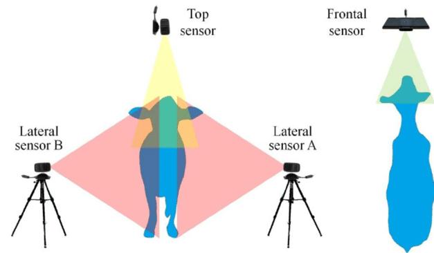 Para escanear un animal y realizar la reconstrucción 3D se requiere la colocación de 3 Microsoft Kinect. Una central y dos laterales.